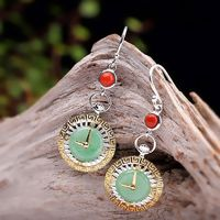 Jade Earrings - 925 Silver Chinese Jade Earrings- selling items- 925 silver earrings-clock earrings