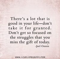 """There's a lot that is good in your life'�'�""""don't take it for granted. Don't get so focused on the struggles that you miss the gift of today. -Joel Osteen The post"""