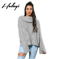 Oversized Vogue Split Hollow Out Flare Sleeves Jersey One Color Fall Casual Sweater - Bonny YZOZO Boutique Store