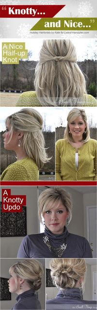 """""""Knotty"""" and Nice updo tutorials! this woman has a ridiculous knack for creating flawless do's. I've tried a few of them, most work ok with my medium length hair, but they never look as good as hers. Gotta try this up-do, though!"""
