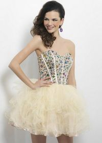Strapless Bodice Champagne Short Ruffled Tulle Homecoming Dresses