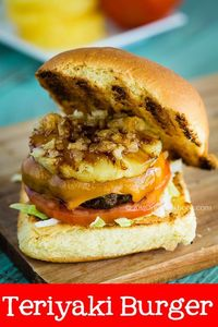 Sweet and tangy teriyaki burger made with lettuce, tomato, sauteed onion, ground beef, and pineapple dressed in homemade teriyaki sauce.