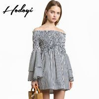 Vogue Sexy Sweet Frilled Sleeves Bateau High Waisted Multi Layered Summer Dress - Bonny YZOZO Boutique Store