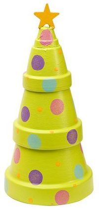 Stacking clay pots has never been so fun. Create this cute Christmas Tree Pot for any room. The beautiful patio paint is what puts this all together. Of course