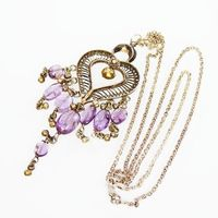Sterling Silver BOHO Heart Pendant & Chain Necklace, Marked 925 Filigree Heart w/Purple Amethyst and Danging Beads, Vintage 1970's, Hippie $95.00