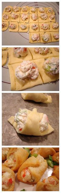 Crab-Filled Crescent Wontons 1-8 oz. tube crescent roll dough 3 oz. cream cheese, softened 1/4 cup mayonnaise 3/4 cup cooked crabmeat, chopped 2 green onions, chopped 1/8- 1/4 teaspoon cayenne pepper salt and pepper, to taste Heat oven to 375°F. Spray co...