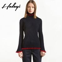 Vogue Simple Solid Color Slimming Flare Sleeves High Neck Jersey Fall Frilled Sweater - Bonny YZOZO Boutique Store