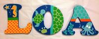 Personalized Wooden Wall Letters for Kids' Rooms - Lambs And Ivy Bubbles & Squirt Theme - Under the Sea Animals to match bedding and decor