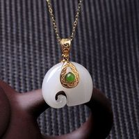 White sheep fat jade elephant Necklace / Hetian jade necklace pendant / 925 silver necklace / Charm Necklaces / gold-plated necklace Ask a question