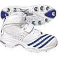 ADIDAS Twenty 2 Yds High Cricket Shoes (14907) White/Cobolt/Metallic Silver. Adidas Cricket bowling shoe with a quick drying Clima. Cool upper for those hottest days. An engineered cricket outsole with TRAXION technology and 11 exchangeable full h...