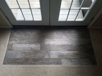 DIY: Wood style tile on a concrete slab with transition to carpet (#QuickCrafter)