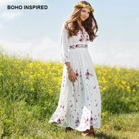 BOHO INSPIRED women dress floral embroidery V-neck lace up long sleeve white long maxi dresses bohemian chic vestidos 2018 $112.81