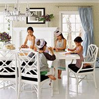 Family Friendly Friday- Breakfast and Dining Room Seating. Using chair cushions that can be washed, lacquered tables and the floor is polyurethane the same kind used on professional basketball courts.. Coastal Living