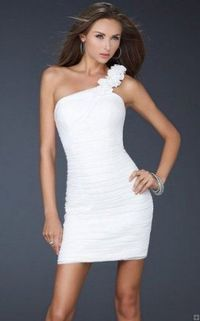 White One Shoulder Floral Cocktail Dress 2013