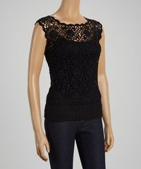 Love this Black Floral Crochet Sleeveless Top on #zulily! #zulilyfinds