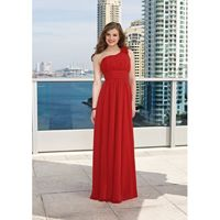 Elegant A-line One Shoulder Ruching Hand Made Flowers Floor-length Chiffon Bridesmaid Dresses - Dressesular.com