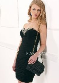 Black Ruched Faviana 7065 Rhinestone Neck Fitted Evening Gown