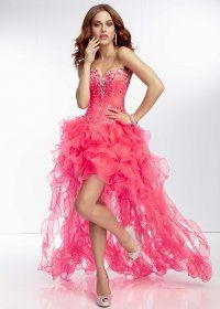 pink beaded high low ruffled prom dresses