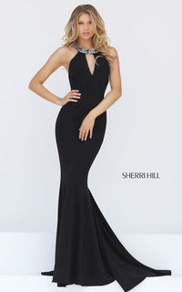 Beaded Jersey Sexy Fitted Sherri Hill Sexy Back dress 50835