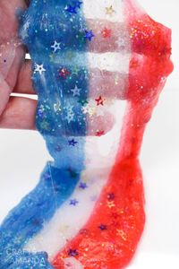 red, white and blue patriotic slime | 4th of July Ideas for Kids