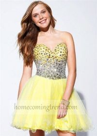 Short Yellow Sweetheart Sequin Prom Dress 2014