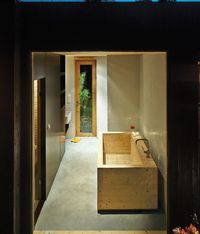 Sævik designed the wood tub in the bathroom, which features an adjacent sauna.