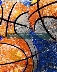 A colorful basketball art print by takumipark. The basketball artwork is a photo print and comes in different sizes. #urbanart #homedecor #basketballartist #wallart #photos