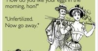 Funny Flirting Ecard: 'How do you like your eggs in the morning, hon?' 'Unfertilized. Now go away.'