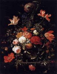 Abraham Mignon - A Glass of Flowers and an Orange Twig