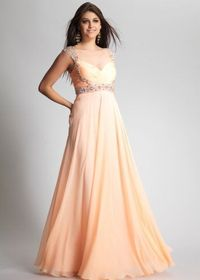 Long Peach Sequin Cap Sleeves Prom Dresses 2014