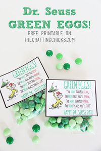 Dr. Seuss Green Eggs Tag *Free Printable. Grab some green Mint M&M's and add this cute tag! Place the treat in your child's lunchbox for a fun surprise.