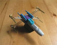 How to: http://www.instructables.com/id/X-Wing-Fighter-from-Office-Supplies/