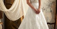 Alencon Lace Trimmed with Intricately Beaded Embroidery. I would say this gown is PERFECT!