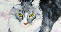 Custom cat portrait from your photo painted on 8 x by PerlillaPets