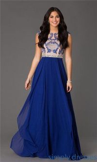 Long Royal Blue Beaded Lace NA-8128 Evening Gowns Sale