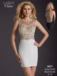 Short Beaded Clarisse 2671 White Gold Homecoming Dress