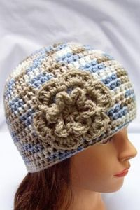 ladies crocheted hat womens hat girls crochet hat beanie cloche blue cream taupe clay flower adult 6497 by crochetHQ for $22.00