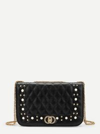 Faux Pearl And Studded Detail Chain Crossbody Bag $38.00