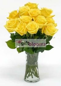 20 Yellow Roses in a Vase