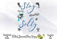 Svg dxf eps png pdf stay salty beach life tshirt tumbler beach hair boat sign svg files for cricut sea life clipart silhouette svg $4.00