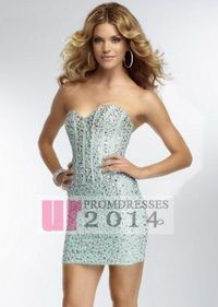 Crystal Beads Mint Strapless Corset Back Mini Prom Dresses
