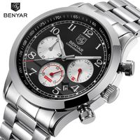 BENYAR Sport Waterproof Chronograph Men Watch Top Brand Luxury Stainless Steel Quartz Military Watches Men Clock reloj hombre $49.98