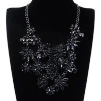 Fashion Jewelry Chain Rhinestone Acrylic Choker Statement Pendant Bib Necklace