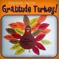 Simple and fun Thanksgiving tradition: Gratitude Turkey! Make one as a gift for grandparents, why we are thankful for them.