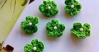 Green Flowers Appliques Crochet 6 Tiny Cherry Blossoms by Mamta