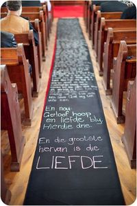 Message Aisle Runner - genius idea! Promises or vows instead of love letter tho.