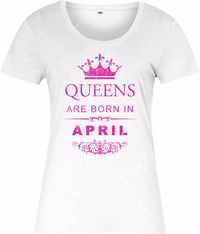 "Frauen T-Shirt gildan kurzarm ""queens sind geboren im April"" Damen t-shirt �'�11.39"
