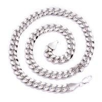 Men's Luxury Silver Plated 10mm Bling Solid Curb Chain Necklace £31.86