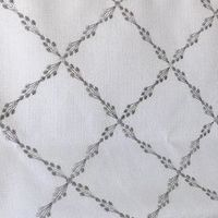 Custom Geometric Grey Embroidery Pattern Ryder Silver Relaxed Roman Shade $97.00