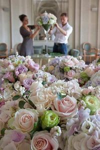 Dinner Party Preparations!! Flowers are Beautiful soft hues of color ... sigh.... <3